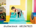 good looking kid descending... | Shutterstock . vector #681367825