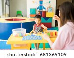 little boy getting language... | Shutterstock . vector #681369109