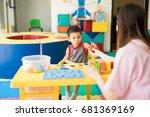 toddler learning the alphabet...   Shutterstock . vector #681369169