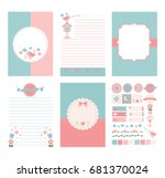 template for notebook paper ... | Shutterstock .eps vector #681370024