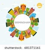 birmingham skyline with color... | Shutterstock . vector #681371161