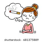woman holding a cigarette | Shutterstock .eps vector #681375889