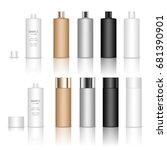 cosmetic plastic bottle. liquid ... | Shutterstock .eps vector #681390901