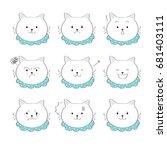cartoon emotions cuts big cat... | Shutterstock .eps vector #681403111