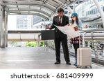 job travel business man with...   Shutterstock . vector #681409999