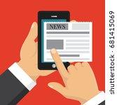 reading news on screen of... | Shutterstock .eps vector #681415069