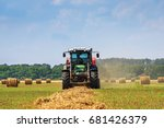 tractor in a farmer field with... | Shutterstock . vector #681426379