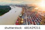 container ship in import export ... | Shutterstock . vector #681429211
