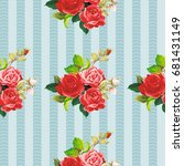 seamless floral pattern rose... | Shutterstock .eps vector #681431149