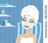 a woman getting a facial in a... | Shutterstock .eps vector #68144110
