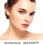 woman face with massage lines | Shutterstock . vector #681443479