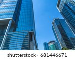 low angle view of skyscrapers... | Shutterstock . vector #681446671