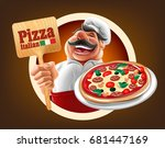 italian pizza illustration | Shutterstock .eps vector #681447169
