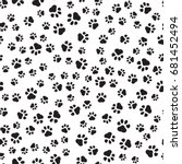 paw print seamless.  | Shutterstock .eps vector #681452494