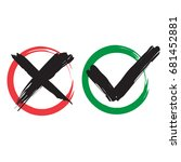 red x and green brush symbolic... | Shutterstock .eps vector #681452881