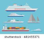 vector flat ocean cruise liner  ... | Shutterstock .eps vector #681455371