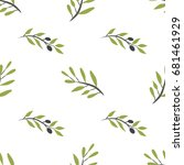 olive brunch seamless pattern.... | Shutterstock .eps vector #681461929