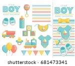 it is a boy baby shower items... | Shutterstock .eps vector #681473341