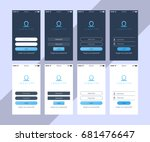 set of login app ui screens.... | Shutterstock .eps vector #681476647