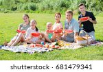 cheerful parents with four kids ... | Shutterstock . vector #681479341