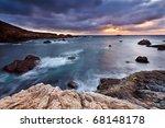 Pacific Coast At Sunset ...