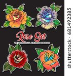 vector rose set. tattoo design... | Shutterstock .eps vector #681492385