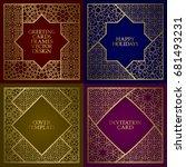 greeting cards golden frames... | Shutterstock .eps vector #681493231