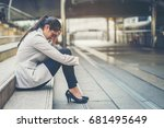 business woman stressed from... | Shutterstock . vector #681495649