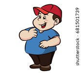 colorful cartoon fat boy with