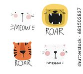vector print with cute animal.... | Shutterstock .eps vector #681502837