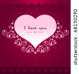 heart floral card with dark... | Shutterstock .eps vector #68150290