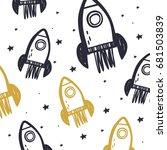 hand drawn rocket print.  | Shutterstock .eps vector #681503839