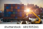 forklift handling container box ... | Shutterstock . vector #681505261