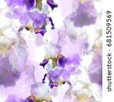flowering irises seamless... | Shutterstock . vector #681509569