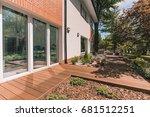 villa porch with glass terrace... | Shutterstock . vector #681512251