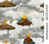 a set of volcanoes of varying... | Shutterstock .eps vector #681512425
