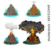 a set of volcanoes of varying... | Shutterstock .eps vector #681512449