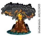 a set of volcanoes of varying... | Shutterstock .eps vector #681512455
