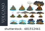 a set of volcanoes of varying... | Shutterstock .eps vector #681512461