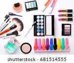 make up brush  perfume  eye... | Shutterstock . vector #681514555