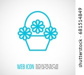 a basket with flowers line... | Shutterstock .eps vector #681514849