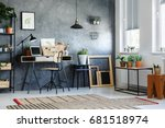 room with modern decor  potted... | Shutterstock . vector #681518974