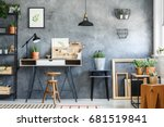 modern workspace interior of an ... | Shutterstock . vector #681519841