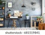 modern workspace interior of an ... | Shutterstock . vector #681519841
