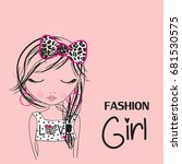 cute girl  fashion girl  t... | Shutterstock .eps vector #681530575