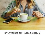 business woman on her coffee... | Shutterstock . vector #681535879