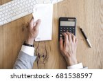 hands holding bills and paying... | Shutterstock . vector #681538597