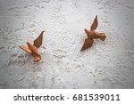 The Image Two Wooden Figures O...