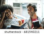 young smiling woman with book... | Shutterstock . vector #681540211