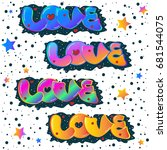 vector illustration. word love. ... | Shutterstock .eps vector #681544075